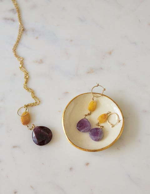 Semi-Precious Drop Earrings - Amethyst