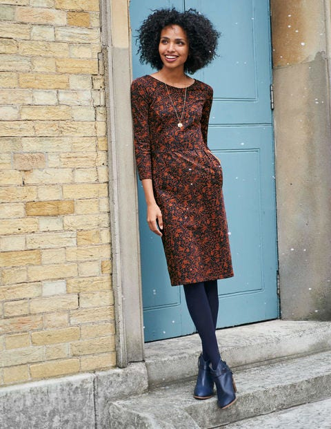 Penny Jersey Dress - Navy/Copper Tree Squirrel