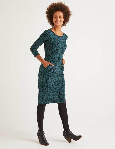 Penny Jersey Dress - Black/Baltic Tree Squirrel