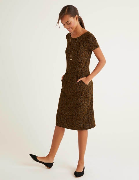 Phoebe Jersey Dress - Black, Animal Stamp