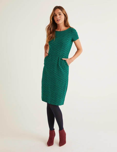 Green Ribbon Print Phoebe Jersey Dress - Forest, Ribbons