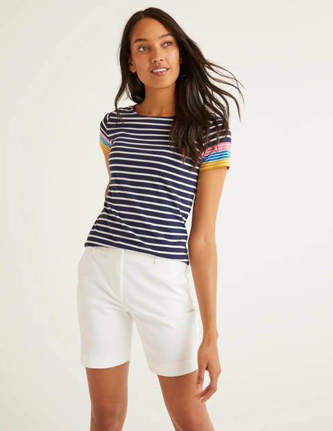 Short Sleeve Breton - Navy/Bright Carmellia Cuff