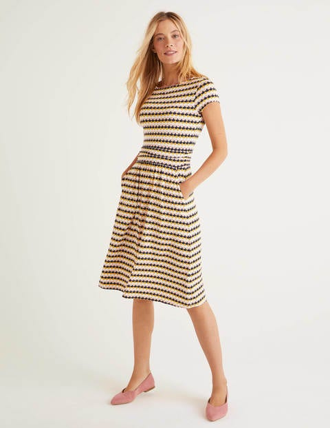 Amelie Jersey Dress - Tuscan Sun Scallop Petal