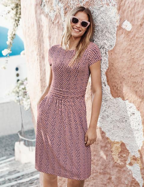 Amelie Jersey Dress - Chalky Pink, Daisy Bud