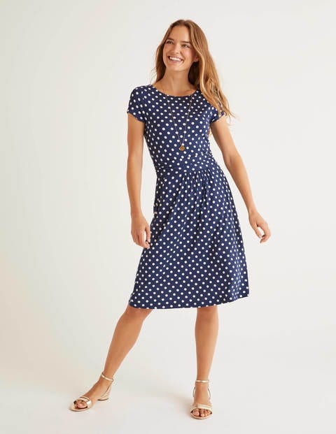 Amelie Jersey Dress - Navy, Linear Brand Spot