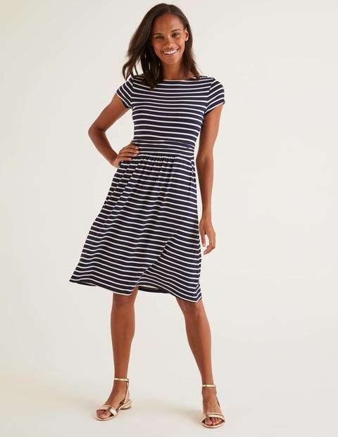 Navy/Ivory Stripe Amelie Jersey Dress