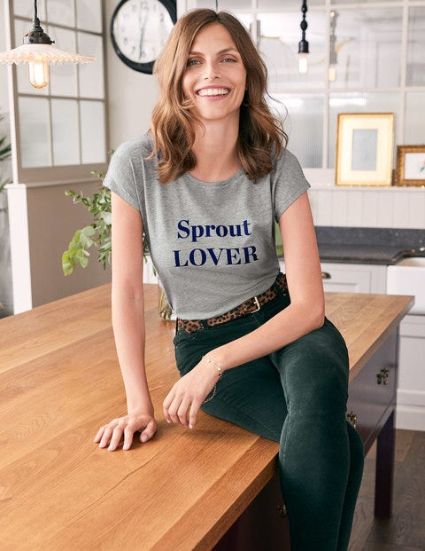 Robyn Jersey Tee - Grey, Sprout Lover/Hater