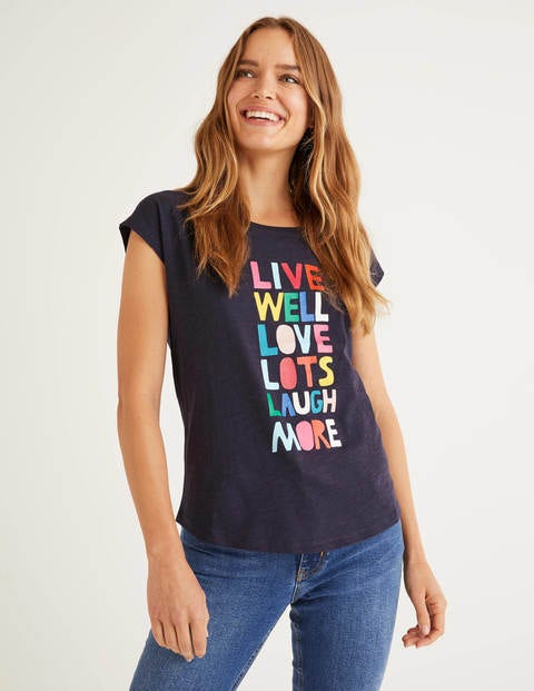 Robyn Jersey-T-Shirt - Navy, Live Well