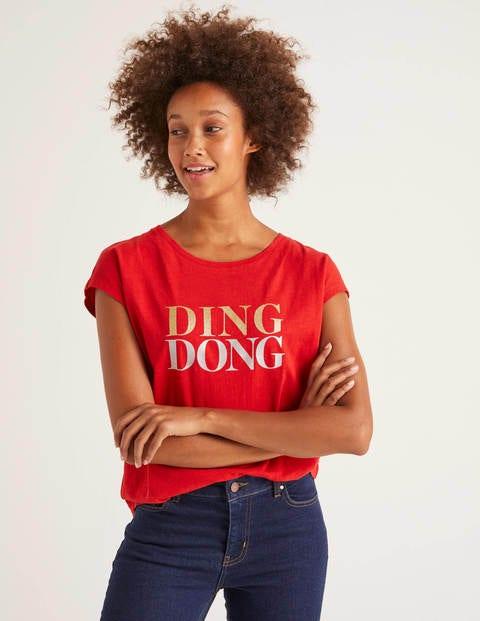 T-Shirt Robyn En Jersey - Poinsettia, motif Ding Dong