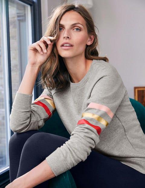 Das Sweatshirt - Grau Meliert/Metallic, Gestreift