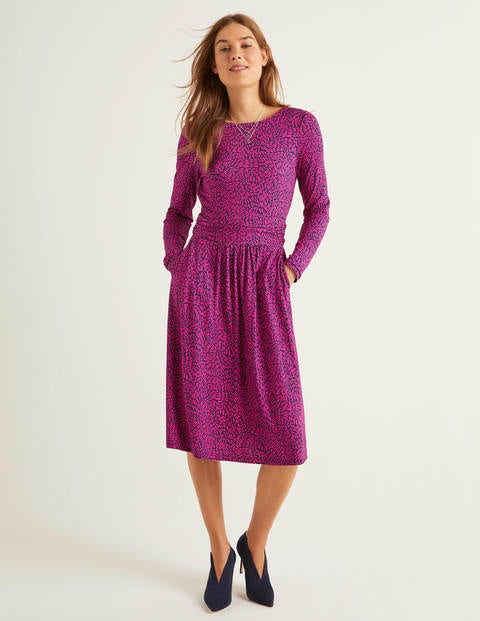 Abigail Jersey Dress - English Berry Pebble Dot