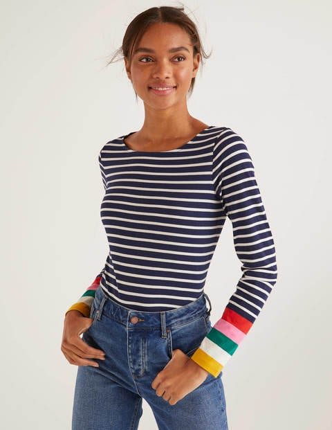 Navy Multi Cuff Long Sleeve Cotton Breton Top