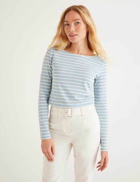 Long Sleeve Breton - Heron Blue/Ivory