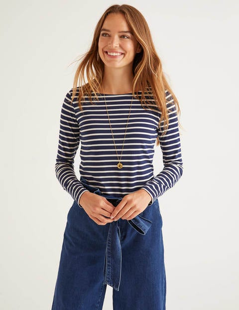 Navy/White Long Sleeve Cotton Breton Top