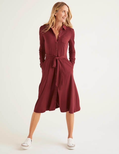 Susannah Jersey Shirt Dress - Maroon