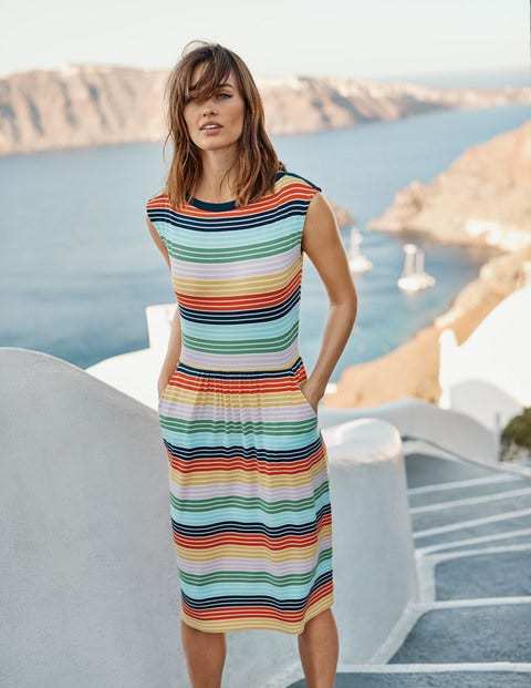 Eleanor Jersey Dress - Daffodil, Rosebay Multistripe