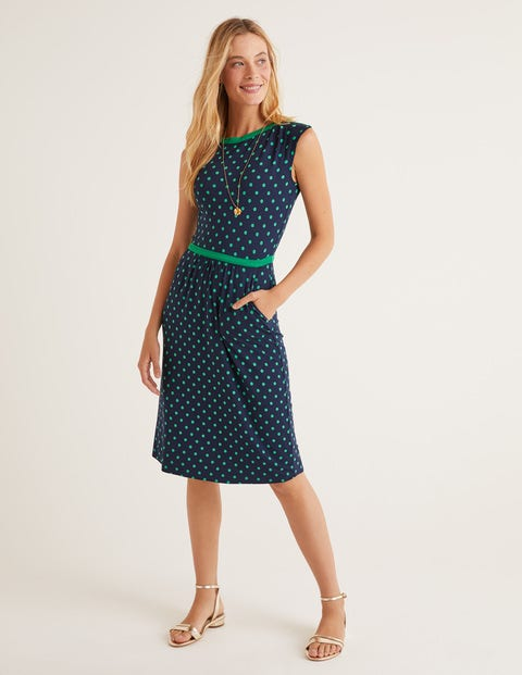 Eleanor Jersey Dress - Navy, Linear Brand Spot
