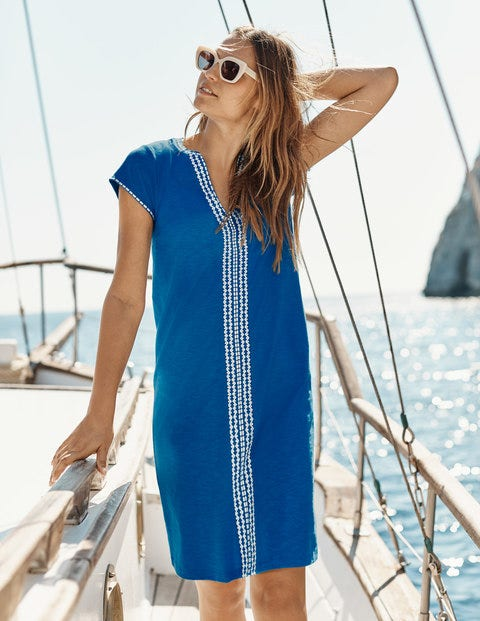 Peggy Embroidered Jersey Dress - Bold Blue