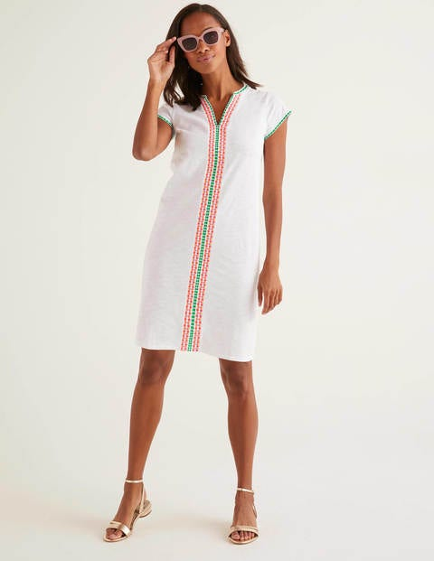 Peggy Embroidered Jersey Dress - White