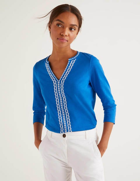 Peggy Embroidered Jersey Top - Bold Blue