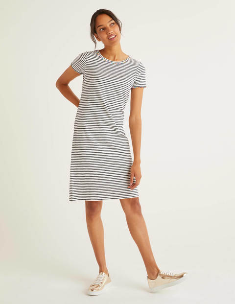 Charlie Jersey T-shirt Dress - Ivory/Navy