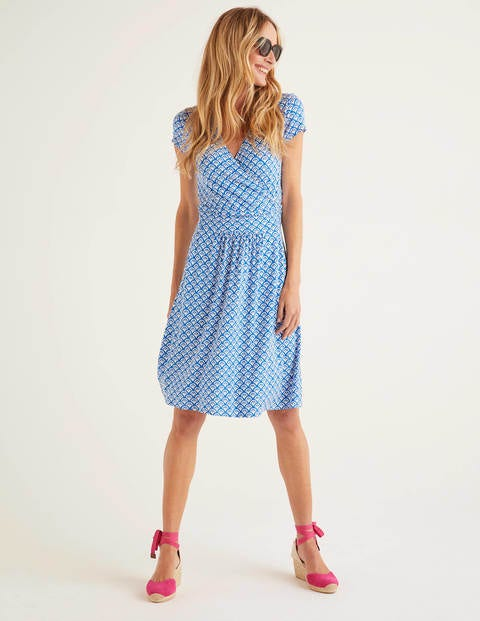 Lola Jersey Dress - Bold Blue, Arc Scallop