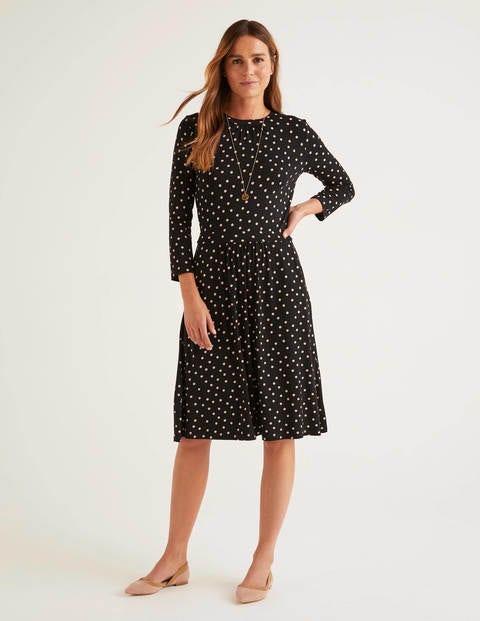 Mira Jersey Dress Black Scattered Brand Spot Boden Uk