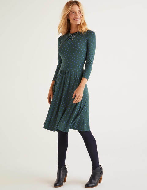 Mira Jersey Dress - Green, Scattered Brand Spot