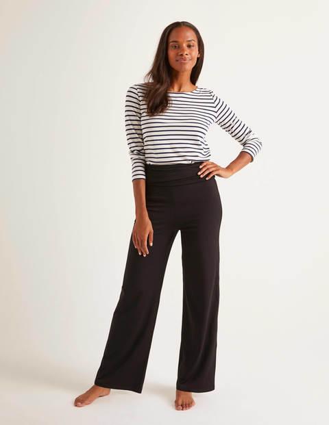 Wide Leg Jersey Trousers - Black