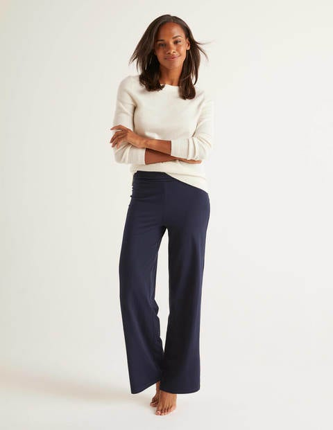 Wide Leg Jersey Trousers - Navy