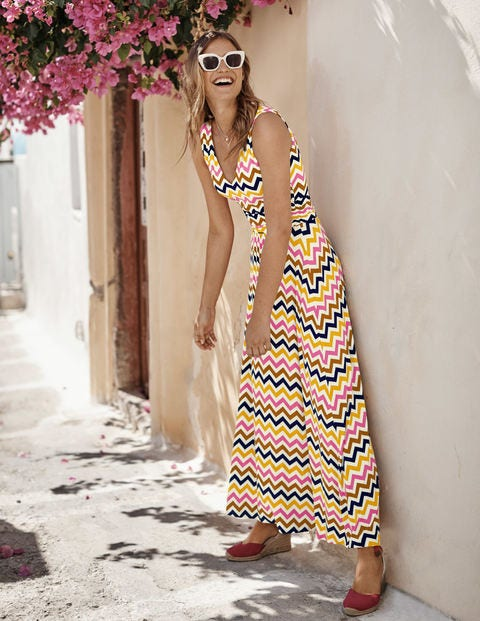 Sienna Jersey Maxi Dress - Ivory, Chevron Stripe