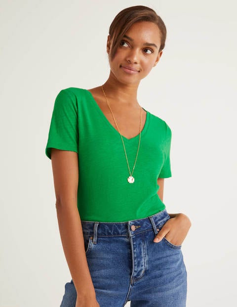 The Cotton V-Neck Tee - Rich Emerald