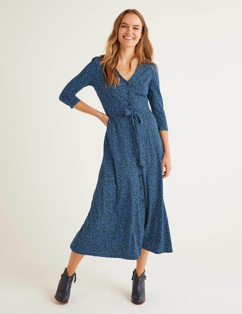 Fleur Jersey Midi Dress - Sky Blue, Animal Stamp