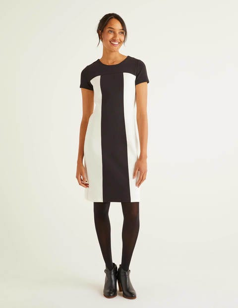 Lizzie Ottoman Dress - Ivory/ Black