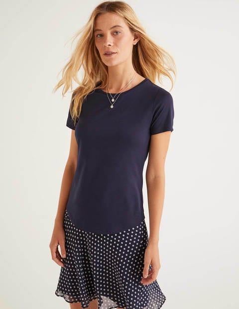 T-Shirt À Manches Courtes Ultra-Doux - Bleu marine