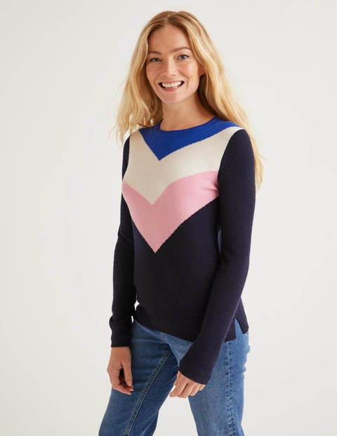 Navy Chevron Cashmere Crew Neck Jumper