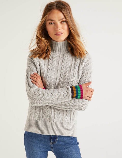 Winifred Cable Sweater - Silver Melange