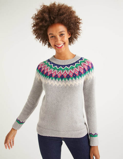 Emma Fair Isle Sweater - Grey Marl