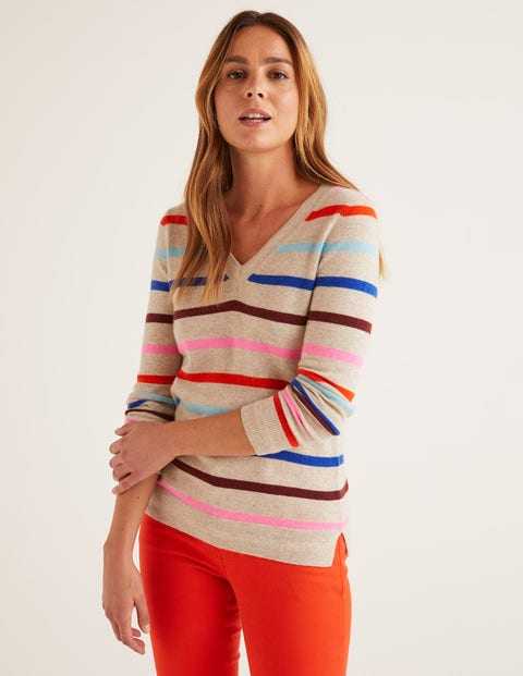 Cashmere V-Neck Jumper - Chinchilla Melange Stripe