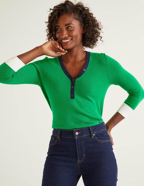Wiltshire Henley Sweater - Rich Emerald
