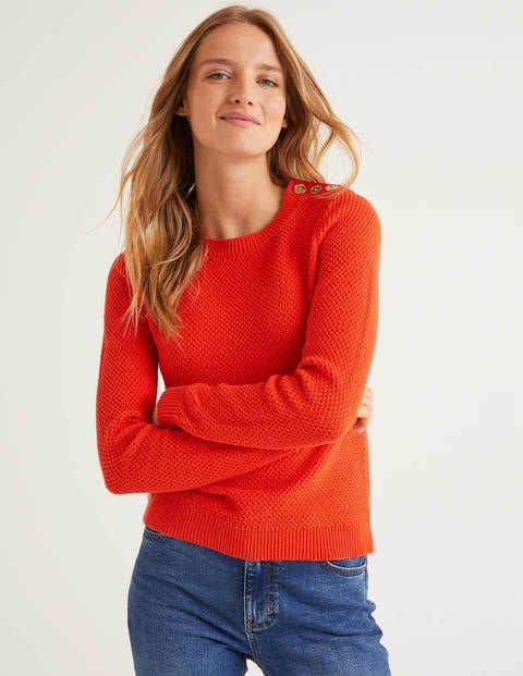 Bude Cotton Textured Jumper - Orange Sunset