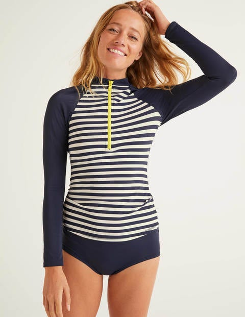 Zip Up Rash Vest - Navy/Ivory Stripe