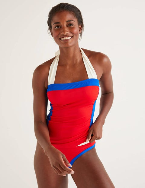 Santorini Tankini Top - Hot Pepper Colourblock