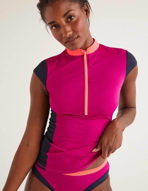 Tilos Short Sleeve Rash Vest - Polished Berry Colourblock