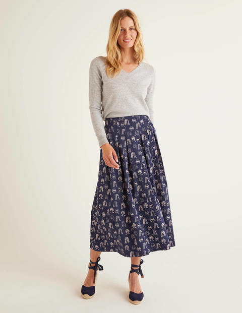 Theodora Pleated Skirt - Navy, Chit Chat