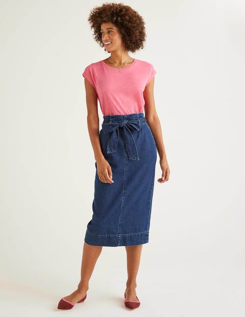 Cara Denim Paperbag Skirt - Mid Vintage