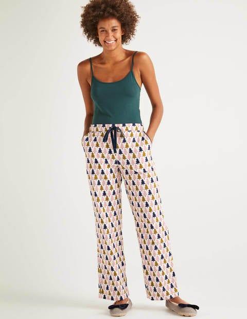 Bas De Pyjama Confortable Vanessa - Ivoire, motif arbres géométrique