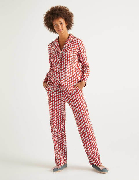 Vanessa Cosy Pajamas - Post Box Red, Rocking Robin