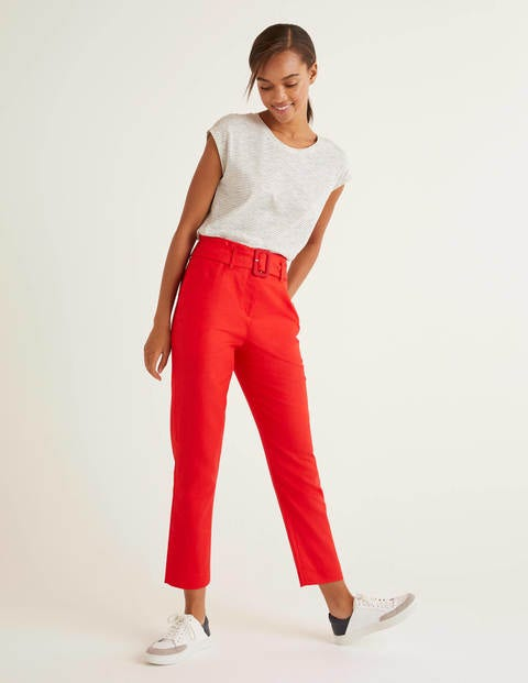 60s – 70s Pants, Jeans, Hippie, Bell Bottoms, Jumpsuits Holkham Linen Trousers Red Women Boden Red £70.00 AT vintagedancer.com