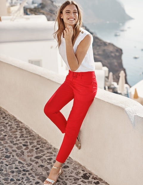 Holkham Belted Pants - Postbox Red